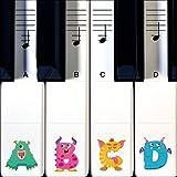 Monster Keyboard und Klavier-Noten Sticker –Transparent für Tastatur mit 88, 76, 61 & 49 Tasten, Inkl. Ersatz-Aufkleber die mit Ihren Kindern Wachsen