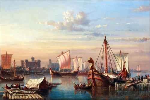 Póster 91 x 61 cm: Viking Boats on The Thames. de Everhardus Koster/ARTOTHEK - impresión artística, Nuevo póster artístico