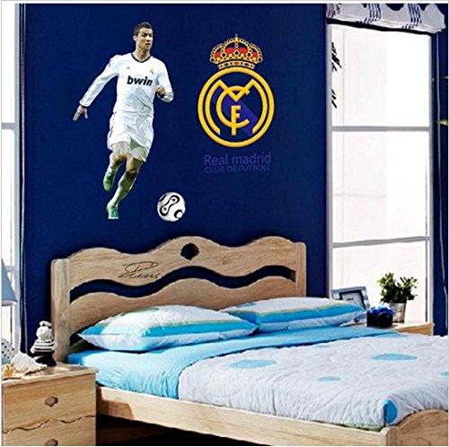 NEU Ronaldo CR7 Echt Madrit Fußball Mannschaft Wandaufkleber Dekoration Abziehbild Kunst Baby Zimmer Jungen Kinder (Fussball-fenster-abziehbild -)