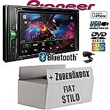 FIAT Stilo - Autoradio Radio Pioneer AVH-A200BT - 2-Din Bluetooth | CD/DVD | MP3 | USB - Einbauzubehör - Einbauset