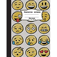Composition notebook wide ruled 8.5 x 11 inch 200 page,Drawing emoji face: Large composition book journal for school student/teacher/office