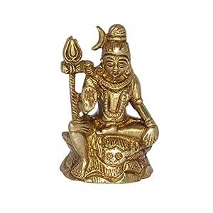Assis en laiton Shiva Sculpture de l'Inde
