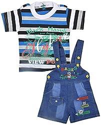 Kuchipoo Baby Boys Dungaree Set (Blue, 6 Months - 1 Years)