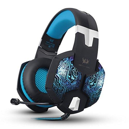 BENGOO Gaming Kopfhörer 7 Farben Atem LED Licht 50mm Stirnband Ohrhörer für PC mit Mikrofon (Die Gehäuse Linie Spannung)