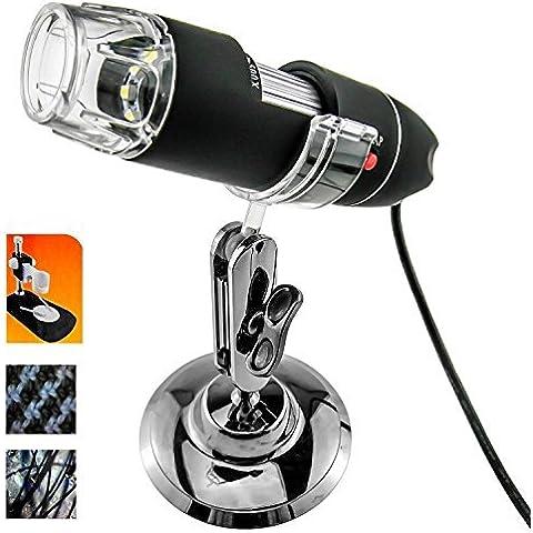 Gearmax® 8 LED USB 2.0 50-500X Digital Microscopio Endoscopio Endoscope Video Magnifier Lupa Cámara con Soporte para Educación Industrial Inspección Biológica