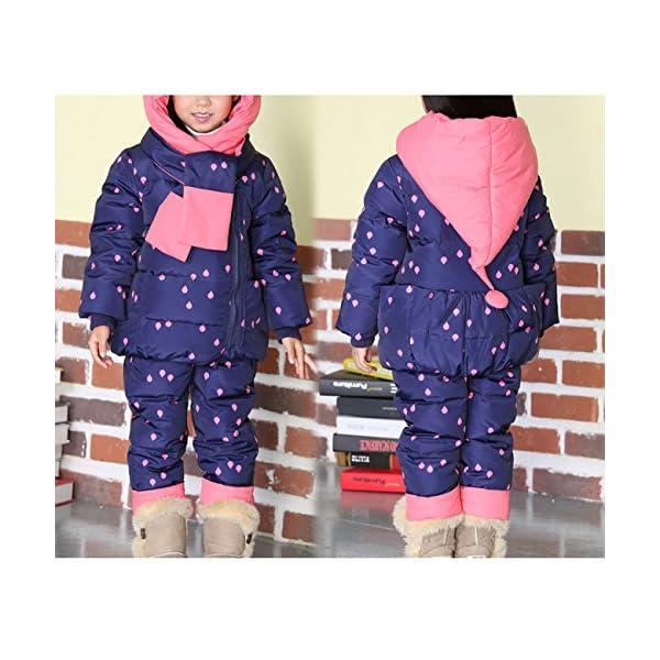 ZOEREA Chaquetas de Esquí para Bebé Niñas Traje de Nieve Abrigoscon Capucha + Pantalones + Bufanda Invierno Acolchado… 3