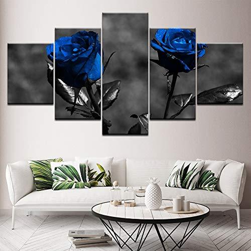 Dekor, Gerahmte Kunst (dhkawja Poster Bilder Leinwand Modular Home Hd Drucke 5 Stücke Blaue Rosen Blumen Gemälde Moderne Kunst Gerahmte Dekor Für Wohnzimmer Wal (Mit Rahmen)-40x60x2 40x80x2 40x100x1)