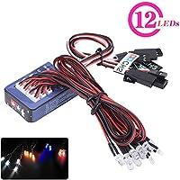 12 LED RC Coche Luz, Lluminación Kit de Sistema Simulación Flashing Lights Tamiya para 1/10 1/8 RC Coche/Camión/Crawler