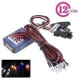 Dilwe 12-LED RC Auto Licht Kit, Beleuchtung System Kit Simulation Blinklichter Tamiya für 1/10 1/8 RC Auto / LKW / Crawler