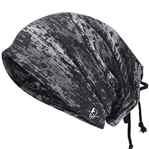 Herren Cool Slouch Mütze Dünne Sommer Schädel Hip-Hop Hüte (BD81-Schwarz) (Coole Hüte)