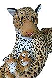 3er Set Leoparden Mama mit Babies Plüschtier Familie Baby Kuscheltier Stofftier Raubkatze