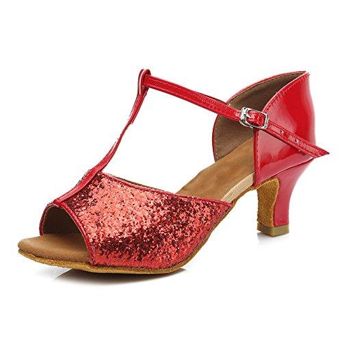 HIPPOSEUS Donna Ballroom Scarpe da ballo /sala da ballo scarpe/Scarpe da ballo latino standard di Raso,Modello-IT216 5CM Rosso
