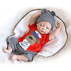 ZIYIUI 18 Pouces 45 cm Poupée Full Silicone Reborn Baby Doll Yeux Fermés Poupées de Couchage avec des Vêtements de Cheveux en Peluche Nouveau-né Bébé Garçon Baby Dolls