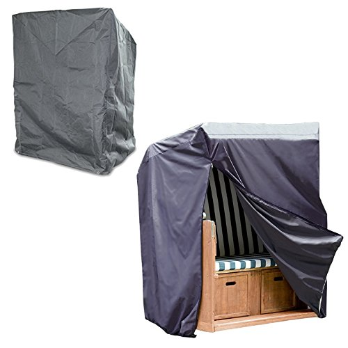 garten e tischgruppe Strandkorb Abdeckung, Schutzhülle mit Reißverschluss, schützt vor Nässe, Schmutz, UPF 50+ Schutz, anthrazit - 170/134 x 130 x 100cm