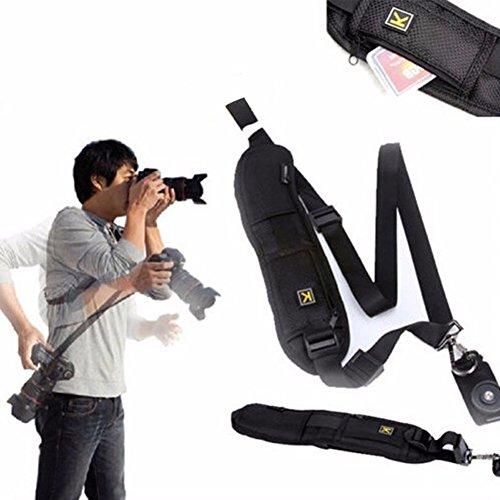 Single Schulter Verstellbarer Gürtel Gurt für DSLR/SLR Digital Kamera, Universal Kamera Gurt Fotografie Dekompression Gurt mit Sicherheit Tether K Buchstabe, Schnelle Foto von Hand, Schwarz -