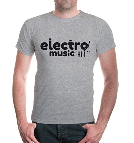 buXsbaum® T-Shirt Electro Music Heathergrey-Black
