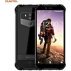 Telephone Portable Incassable,Oukitel WP1 4G Antichoc Etanche IP68 (5000mAh Battery,5,5 Pouces,4Go RAM+64Go ROM,13MP+5MP Cameras,Dual Double Nano Sim,Android 8.1) Noir