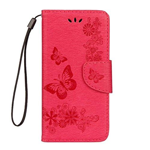 Cover per iPhone 7 Plus,per iPhone 8 Plus Custodia, ZCRO Portafoglio Cover in Cuoio PU Pelle Stand Protettiva Flip Case a Libro Farfalle Fiori Modello con Magnetica Strap e Penna Stilo Copertina Custo Design 2 Rosa Rosso