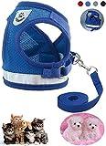 Z ZHIZU Hundegeschirr Reflektierend atmungsaktiv für große, mittelgroße, Mittlere & Kleine Hunde Geschirr Hund Katze Brustgeschirr Dog Harness (XS, Reflektierend Blau)