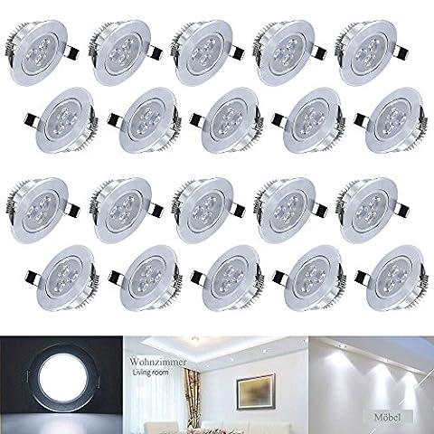 Hengda® 3W LED Einbauleuchte Wohnzimmer Decken Leuchte Lampe Spot Strahler Set 235-255LM 85-265V AC (20er pack Kaltweiß)