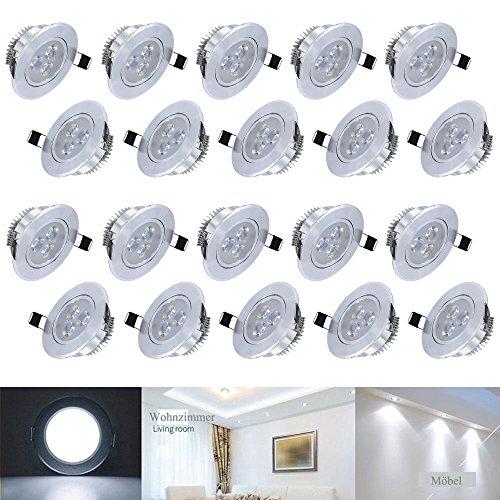Hengda® LED Decken Einbaustrahler für Badezimmer Wohnzimmer küche Spot Leuchte Lampe Set 230V (20X 3W Kaltweiß)