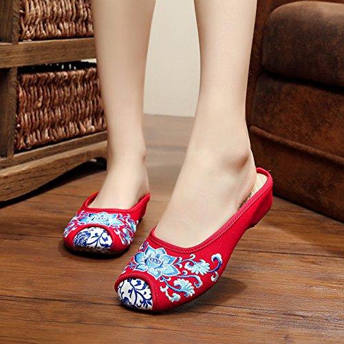 Azuis Sexo De Único Sandálias Sapatos Feminino Moda De Convenientemente Étnico Brancos Flip Hua Estilo E Vermelho Bordados Longa Porcelana amp; Do Flop 5TRzwnwqZx
