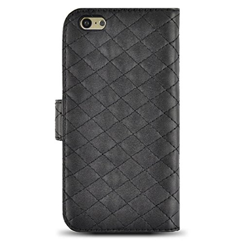 Phone case & Hülle Für IPhone 6 / 6S, Scrub Feel Horizontal Flip Magnetic Button Leder Tasche mit Card Slot & Halter ( Color : Magenta ) Black