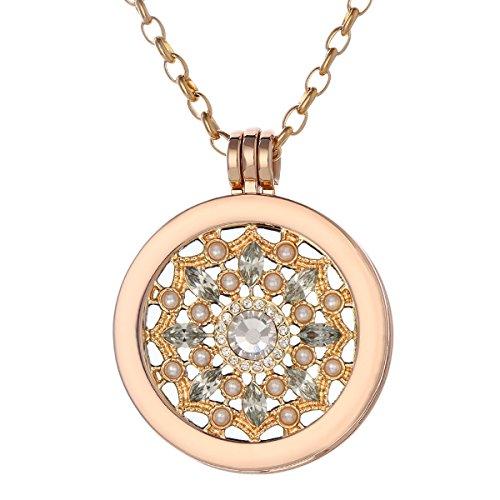 Morella Damen Halskette gold 70 cm Edelstahl und Anhänger mit Coin Blüte Zirkonia gold 33 mm im Schmuckbeutel