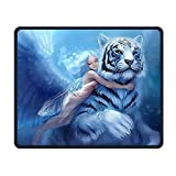White Tiger Fairys Comfortable Rectangle Rubber Base Mousepad Gaming Mouse Pad