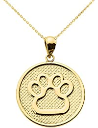 """14 ct Yellow Gold Dog Paw Print Disc Pendant Necklace (Comes With an 18"""" Chain)"""