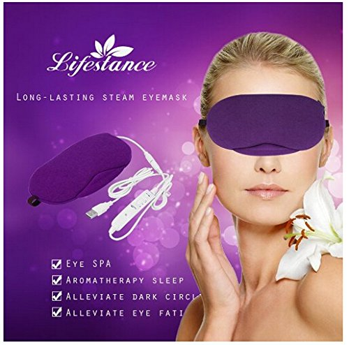 Lavender Steam Eye Mask with USB Heated Temperature and Timing Adjust , Long-lasting Herbal Scent Great for Sleep Aid/Travel/Shiftwork Resting - purple