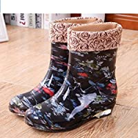 FDDSSYX Rainboots For Women,Womens Wellies Waterproof Ladies Fashion Flower Printed Short Tube Wellington Rain Shoes Warm Thicken Rain Boots Music Festivals Water Boots