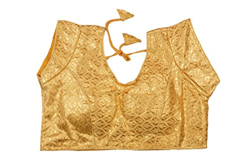 PMC Women's Brocade Ethnic Blouse (Gold, 32)