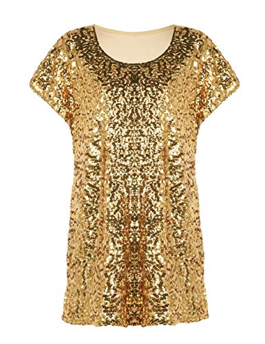 PrettyGuide Damen Pailletten Bluse Loose Fit Auffällig Party Tops Dolman Ärmel Gold XXL/EU48-50 -