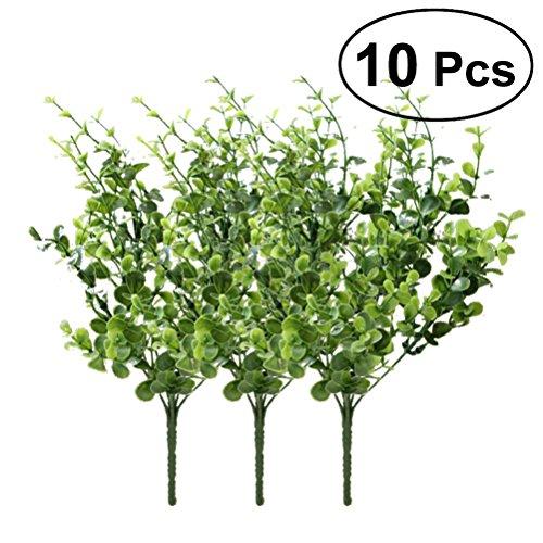OUNONA 10 Stücke Künstliche Eukalyptus Klein Kunstpflanzen Büro Haus Hochzeit Party Dekoration (grün)