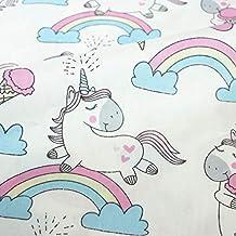 Tela de unicornios blanca por metros 1 unidad es 0.50 m. x 1.60 m.