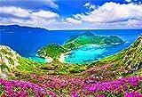 Aliyz 5x3ft Naples Sea Coast Splendido paesaggio d'Italia Sfondo Fiori rosaFotografia Sfondo Montagna Fiume Paesaggio urbano Architettura Paesaggio mediterraneo Vacanze italiane Viaggio