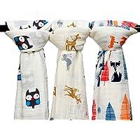 Qavjua - 3 mantas de muselina para bebé, 120 x 120 cm, manta de algodón para regalo de ducha unisex