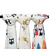 Qav Juh 3 Pack Musselin Baby Wickeldecke Wrap Decken, 120 x 120 cm Bio Baumwolle Musselin Receiving Decke für Unisex Dusche Geschenk (Eule & Hirsch & Fuchs)