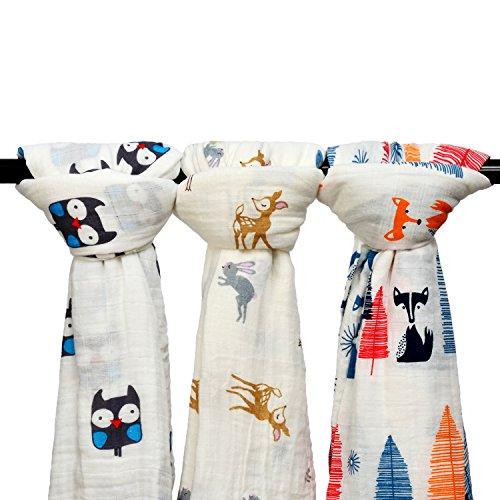 Qav Juh 3 Pack Musselin Baby Wickeldecke Wrap Decken, 120 x 120 cm Bio Baumwolle Musselin Receiving Decke für Unisex Dusche Geschenk (Eule & Hirsch & Fuchs) EINWEG