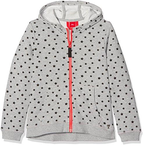 s.Oliver Mädchen Sweatshirt 66.708.43.4825, Grau (Grey/Black Aop 94A9), 152 (Herstellergröße: M)