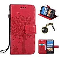 PU für HTC One (M9) Hülle, Klappetui Flip Cover Echt Leder Tasche für HTC One (M9) Flip Cover Handyhülle Bookstyle mit Magnet Kartenfächer Standfunktion + Staubstecker