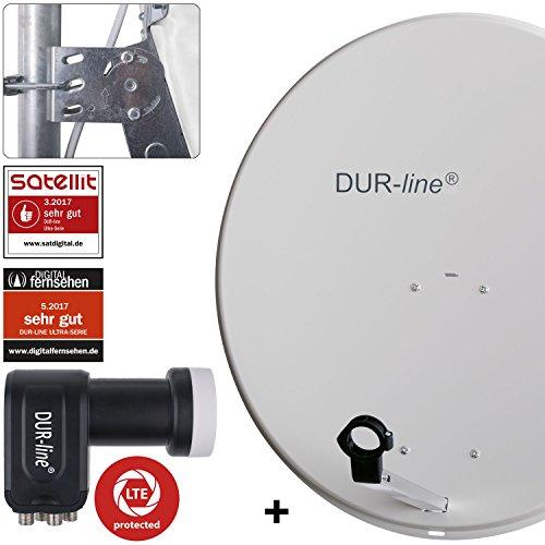 DUR-line MDA 80 Hellgrau - Digiatale 4 Teilnehmer Satellitenschüssel Komplett-Anlage mit +Ultra Quad - LNB [Camping, Astra 19,2°, DVB-S/S2, Full HD, 4K, 3D]