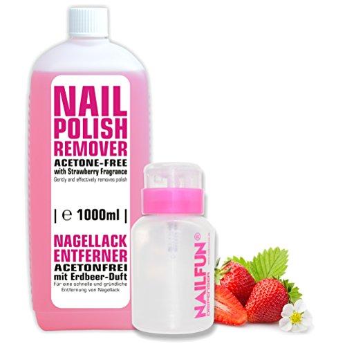 1000ml Nagellackentferner ACETONFREI + praktische Pumpflasche (pink)