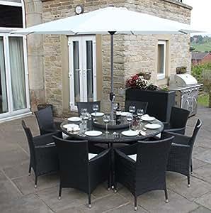 schwarz aus rattan f r den garten 8 personen runder tisch mit sonnenschirm. Black Bedroom Furniture Sets. Home Design Ideas