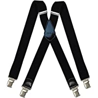 Mens braces wide adjustable and elastic suspenders X shape with a very strong clips Heavy duty (Black 3)