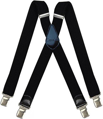 Hosenträger für Herren breit extra starken 4 cm mit 4er Clips X-Form Lange für Männer und Damen Hose (Schwarz 3)