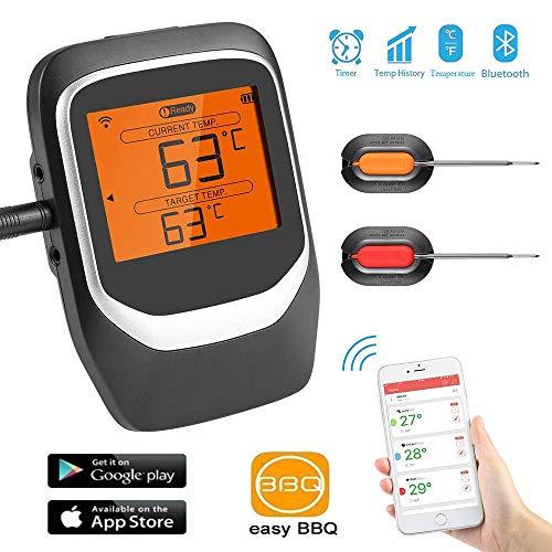 Sendowtek Termómetros de Cocina, Digital Termómetros para Carne BBQ, App Bluetooth Remote con Alarma,Inteligente Termómetro para Barbacoa Al Aire Libre Parrilla Horno Horneando Beber Comida para Bebé