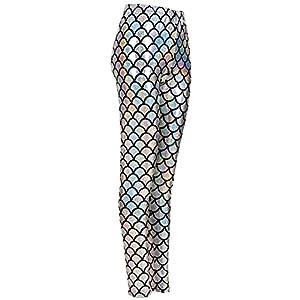 51Un%2By7kM1L. SS300  - MHIM Fish Scale Mermaid Leggings Slim Fit Sports Yoga Gym Festival