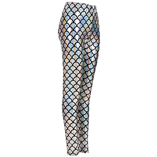 MHIM Fish Scale Mermaid Leggings Slim Fit Sports Yoga Gym Festival